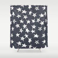 Linocut Stars - Navy & White Shower Curtain