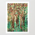 Walking through the Forest - watercolor painting collage Art Print
