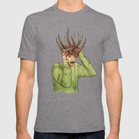 Antlers Mens Fitted Tee Tri-Grey SMALL