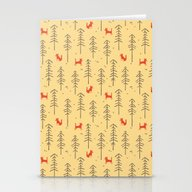 Stationery Cards featuring Fox Hiding In The Forest by Budi Kwan