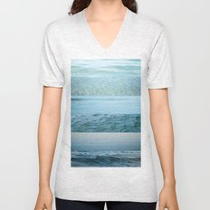 Water Study abstract blue waves Unisex V-Neck