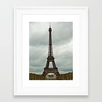 Eiffel Tower on a Cloudy Day Framed Art Print