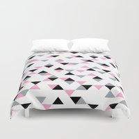 Triangles Black and Pink Duvet Cover