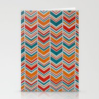 Teal, Red and Goldenrod chevron Stationery Cards