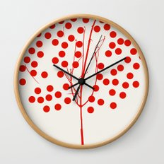 Tree of Life Red Wall Clock