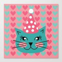 Cat Party hat Canvas Print