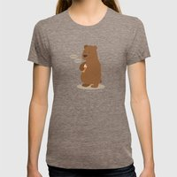 2 Doigts Coupe Faim Womens Fitted Tee Tri-Coffee SMALL