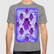 Purple Iris Patterned Bl… Mens Fitted Tee Tri-Grey SMALL