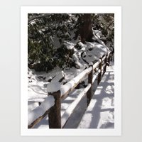 Snowy Bridge Art Print