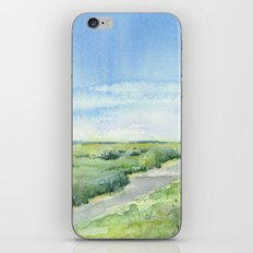 Sky and Grass Landscape Watercolor iPhone & iPod Skin