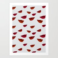Retro Lips Art Print