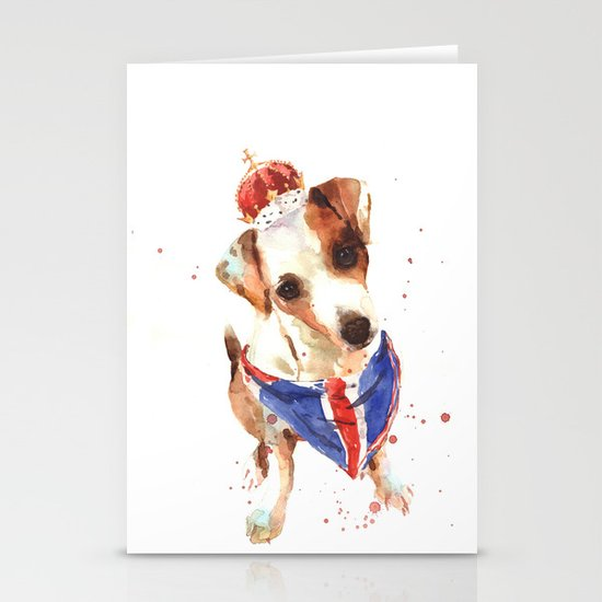 LONDON - Jack Russell Art - Union Jack Stationery Card