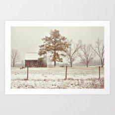 Snowy Farm Art Print