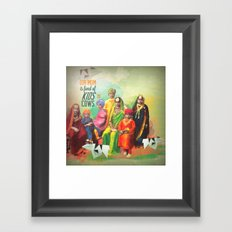Our mom likes kids and cows  Framed Art Print