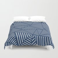 Abstraction Linear Zoom Navy Duvet Cover