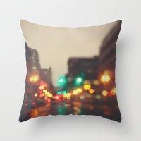 Portland In The Rain Throw Pillow