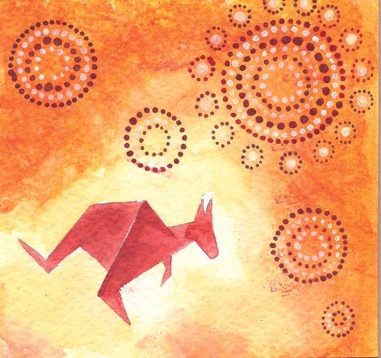 Kangaroo Origami 4 Canvas Print