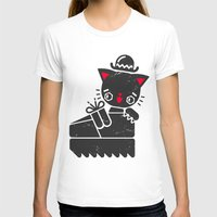 Cat In Platform Shoe Womens Fitted Tee White SMALL