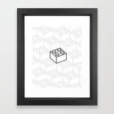 2x2 Legoblock White pattern Framed Art Print