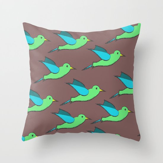 Cute Birds Throw Pillow