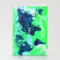 World Map in Blue and Green Stationery Cards