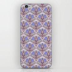 Art Deco Lotus Rising 2 - sage grey & purple pattern iPhone & iPod Skin