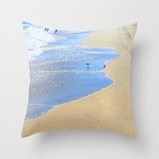 seascape 005: father, son, & 2 sandpipers Throw Pillow