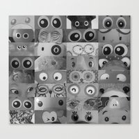 Eyes Eyes Eyes BW Canvas Print