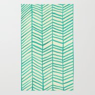 Rug featuring Mint Herringbone by Cat Coquillette
