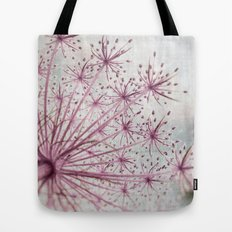 Vintage Raspberry Pink and Paris Gray Botanical Queen Anne's Lace Wildflower Tote Bag