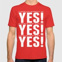 YES! YES! YES! Mens Fitted Tee Red SMALL