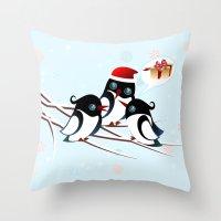 Winter Birds Christmas W… Throw Pillow