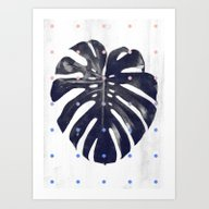 Monstera + Dots Art Print