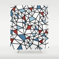 Segment Red And Blue Shower Curtain
