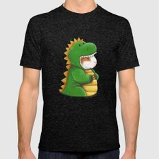 Guinea Pig in a Dinosaur Costume - Peegosaurus Rex Mens Fitted Tee Tri-Black SMALL
