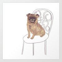 Pug On A Chair Art Print