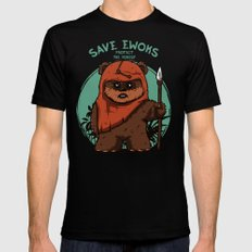 Save Ewoks Mens Fitted Tee Black SMALL