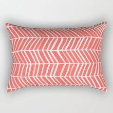 Coral Herringbone Rectangular Pillow