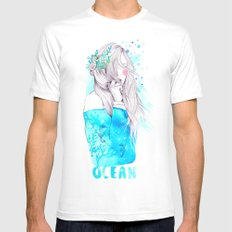 Ocean White SMALL Mens Fitted Tee