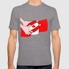 Canada Rugby Flag Mens Fitted Tee Tri-Grey SMALL
