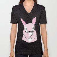 Pink Bunny Rabbit Unisex V-Neck