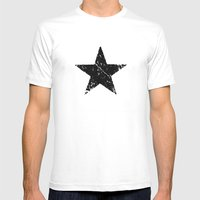 black white grunge star shape old vintage army symbol Mens Fitted Tee White SMALL