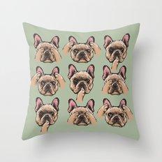 No Evil  Frenchie Throw Pillow
