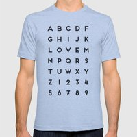 Letter Love - White Mens Fitted Tee Athletic Blue SMALL