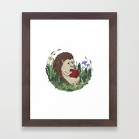 Hedgehog Reading A Book Framed Art Print