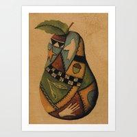 Crazy Quilt Pear Art Print