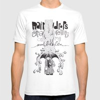 Raindrops Mens Fitted Tee White SMALL