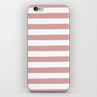 Mauve and white stripes - classy college student collection iPhone & iPod Skin