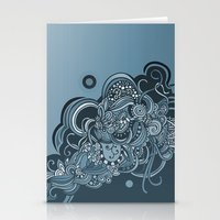 Detailed diagonal tangle, blue Stationery Cards