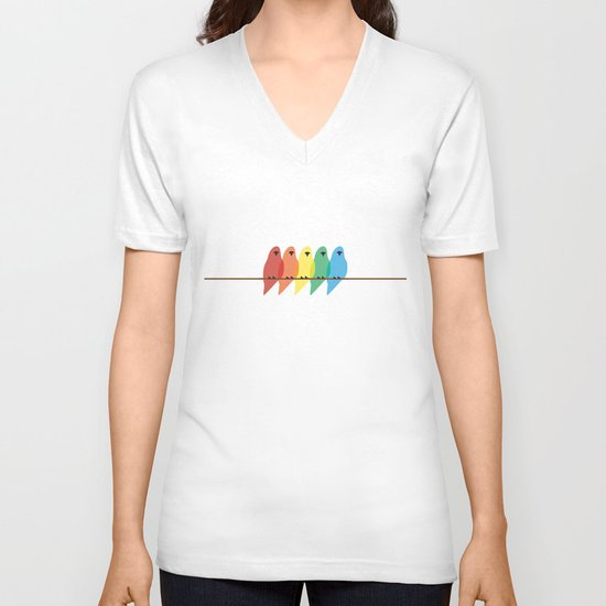 Birds V-neck T-shirt